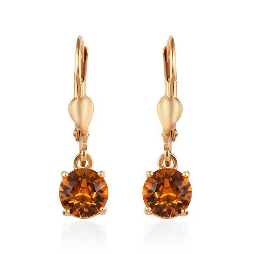 J Francis - Crystal from Swarovski Topaz Crystal (Rnd) Lever Back Earrings in 14K Yellow Gold Overla