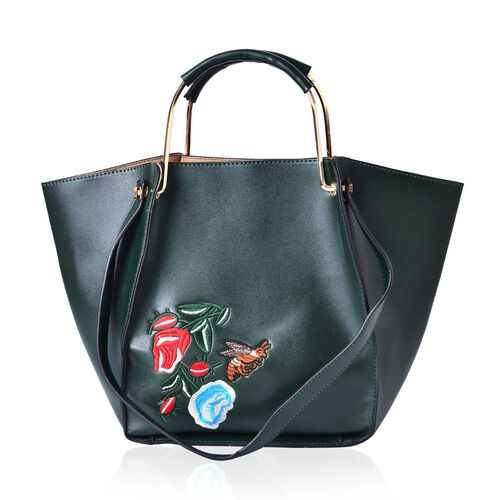 Floral Embroidered City Tote Bag with Shoulder Strap (Size 38x27x23x13.5 Cm)