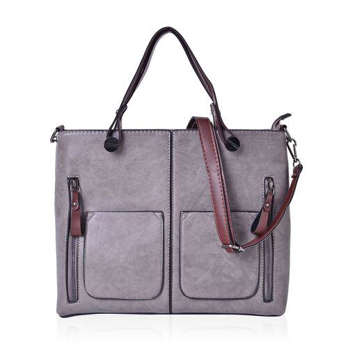 Grey and Brown Colour Tote Bag with 3 External Zipper Pockets and Removable Shoulder Strap (Size 31x25.5x11 Cm)