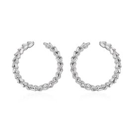 GP 0.52 Ct Diamond and Blue Sapphire Hoop Earrings in Platinum Plated Silver