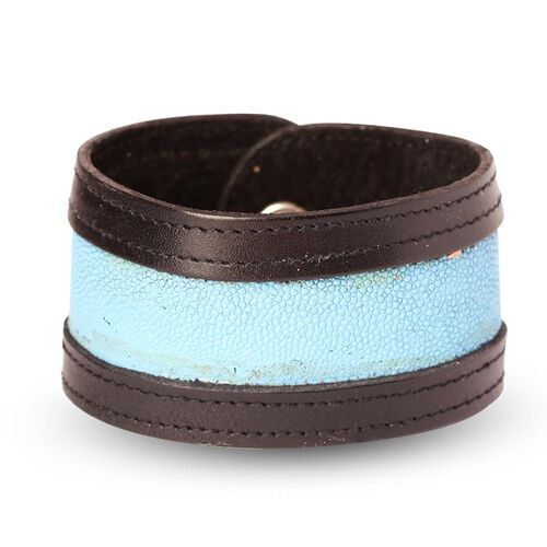 Black and Light Blue Stingray Leather Bangle (Size 9)