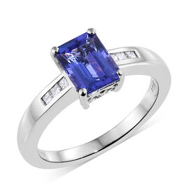 RHAPSODY 950 Platinum AAAA Tanzanite (Oct 1.75 Ct), Diamond (VS/E-F) Ring 1.850 Ct.