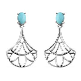 Arizona Sleeping Beauty Turquoise (Ovl) Floral Drop Earrings (with Push Back) in Rhodium Overlay Ste