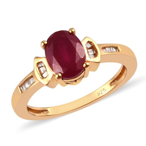 African Ruby and Diamond Ring in 14K Gold Overlay Sterling Silver 1.58 Ct.
