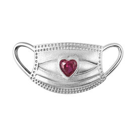 Simulated Ruby Heart on Mask Charm or Pendant in Rhodium Overlay Sterling Silver