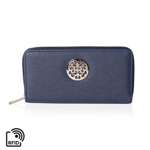 Fabulous Navy RFID Long Clutch Wallet