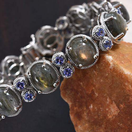100% Natural Fire Labradorite (Ovl 11x9 mm),Tanzanite Bracelet (Size 7.5) in Platinum Overlay Sterling Silver 47.60 Ct, Silver wt 24.50 Gms