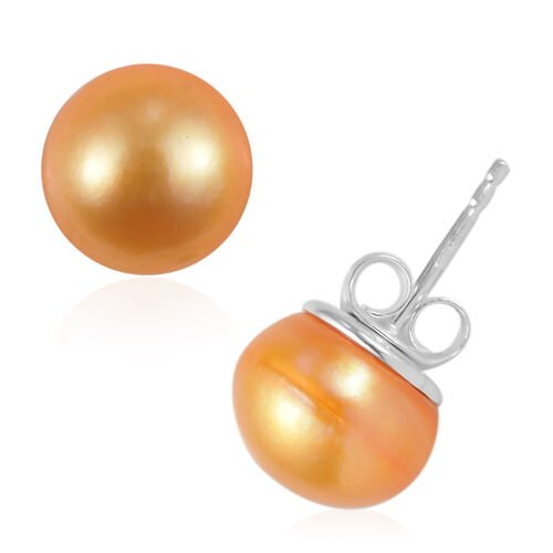 2 Piece Set - Golden Freshwater Pearl Earrings (with Push Back) and Pendant in Sterling Silver