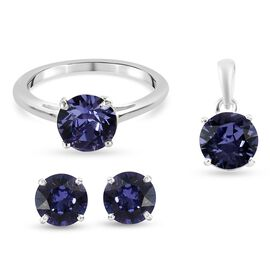 J Francis 3 Piece Set -  Crystal from Swarovski Tanzanite Colour Crystal Solitaire Ring, Pendant and
