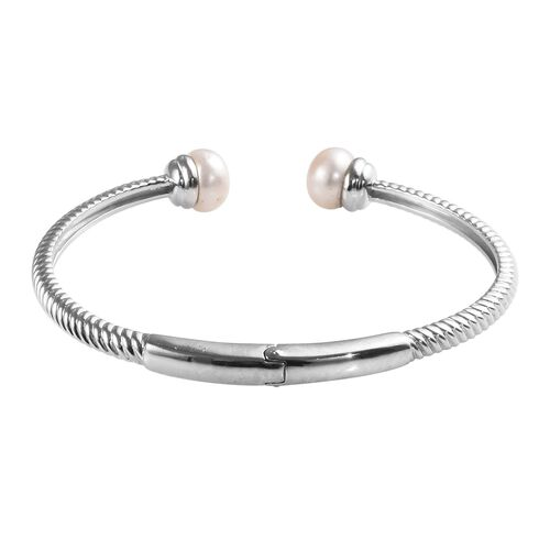 Freshwater Pearl Spiral Cuff Bangle (Size 7.5) in Platinum Plated