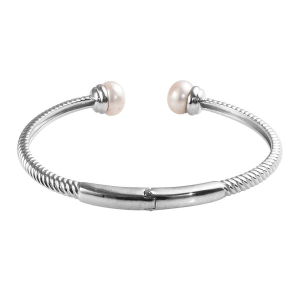 Freshwater Pearl Spiral Cuff Bangle (Size 7.5) in Silver Tone