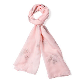 Peach Colour Dandelion Pattern Scarf (Size 180x70 Cm)
