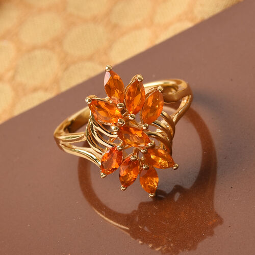 AA Jalisco Fire Opal Floral Ring in 14K Gold Overlay Sterling Silver 1.00 Ct.