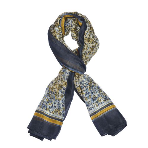 100% Mulberry Silk Yellow, Black and Multi Colour Handscreen Floral Printed Scarf (Size 200X180 Cm)