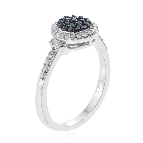 Blue Diamond (Rnd), White Diamond Ring in Platinum Overlay with Black Plating Sterling Silver 0.330 Ct.