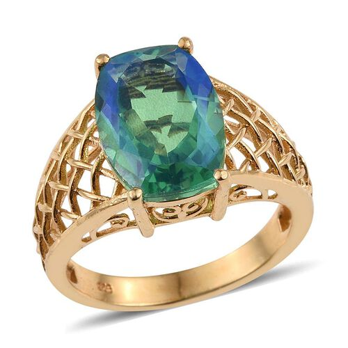 Peacock Quartz (Cush) Solitaire Ring in 14K Gold Overlay Sterling Silver 6.750 Ct.