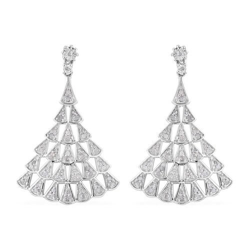 Designer Inspired- Limited Edition- Diamond Dangle Earrings (with Push Back) in Platinum Overlay Ste