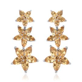 7.87 Ct Citrine Floral Dangle Earrings in Rhodium Plated Sterling Silver 6.95 Grams