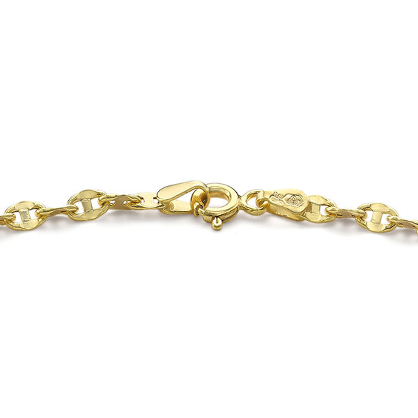 9K Yellow Gold Mariner Anklet (Size 9) with Spring Clasp