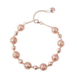 RACHEL GALLEY Rose Gold Overlay Sterling Silver Globe Alternate Bead Bracelet (Size 7.5 to 8.5), Sil