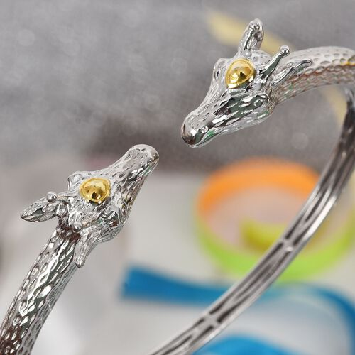 Giraffe Cuff Bangle (Size 7.5) in Platinum and Yellow Gold Tone
