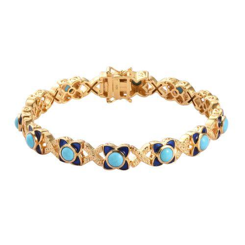AA Arizona Sleeping Beauty Turquoise Enamelled Bracelet (Size 7.5) in 14K Gold Overlay Sterling Silv