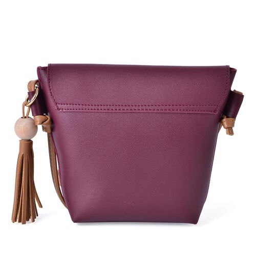 Burgundy and Dark Beige Colour Crossbody Bag with Tassels and Shoulder Strap (Size 24.5x19x15.5x6 Cm)