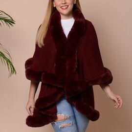 Solid Burgundy Kimono with Faux Fur Trim (Size 125x79cm)