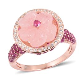 JARDIN COLLECTION - Floral Hand Carved Marropino Morganite, Burmese Ruby ( Rnd 2.75 Cts)  and Natural White Cambodian Zircon Ring in Rose Gold Sterling Silver 8.400 Ct,