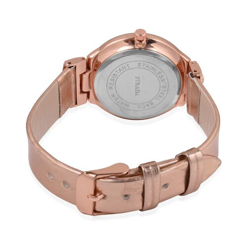 STRADA Japanese Movement Water Resistant Watch with Morganite Colour Strap