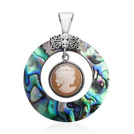 Royal Bali Collection - Abalone Shell and Cameo Pendant in Sterling Silver