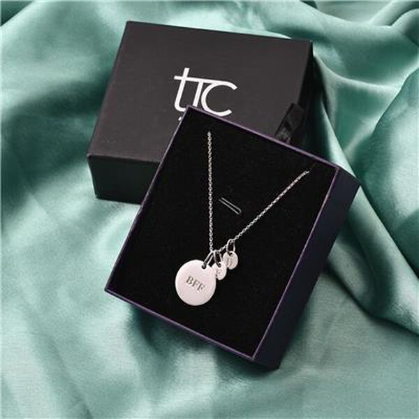 Personalised Engravable 3 Disc Charm Necklace in Silver