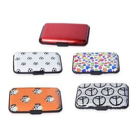 Set of 5 - RFID Blocker Card Holder (Size 11X7X2 Cm) - Red, Football, Heart, Cow and Peace Pattern w