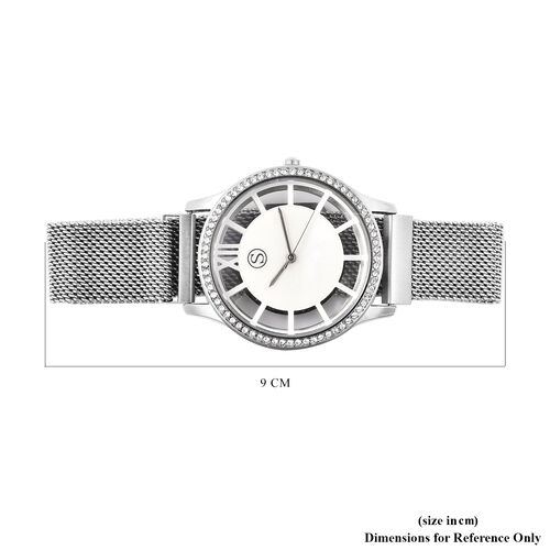STRADA Japanese Movement White Austrian Studded Water Resistant Watch with Mesh Style Strap in Silver Tone