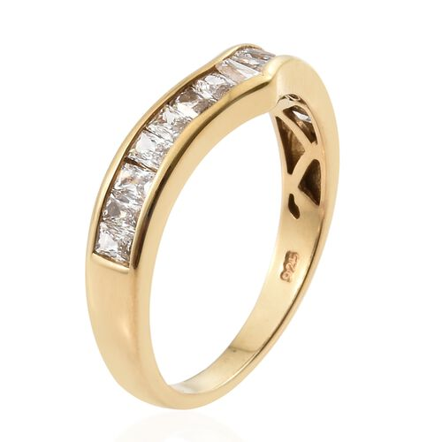 J Francis - 14K Gold Overlay Sterling Silver (Bgt) Wishbone Ring Made with SWAROVSKI ZIRCONIA