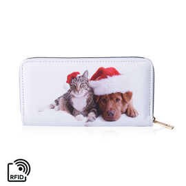 Cat and Dog Print RFID Clutch Wallet (Size 18.5x2.5x9.5cm) with Zipper Closure in Gold Tone - White