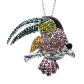 Multi Colour Austrian Crystal Toucan Brooch or Pendant With Chain (Size 24) in Stainless Steel