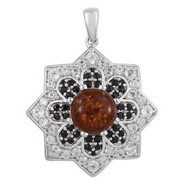 Baltic Amber (Rnd), Boi Ploi Black Spinel and Natural Cambodian Zircon Pendant in Platinum Overlay Sterling Silver 4.000 Ct. Silver wt 7.51 Gms.