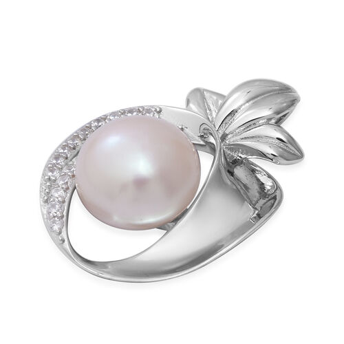 Freshwater Pearl and Simulated Diamond Apple Pendant in Rhodium Overlay Sterling Silver