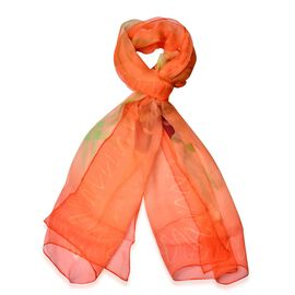 100% Mulberry Silk Green and Brown Colour Floral Pattern Orange Colour Scarf (Size 170x50 Cm)