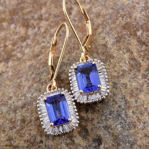 ILIANA 18K Yellow Gold 2.25 Ct AAA Tanzanite Lever Back Halo Earrings with Diamond