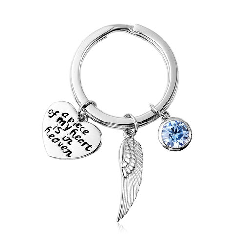 Charms De Memoire Sterling Silver Simulated Aqua, Angel Wing and Heart Charms in Key Chain