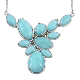 33.5 Ct Peruvian Amazonite Cluster Necklace in Sterling Silver 16.37 Grams Size 18 Inch