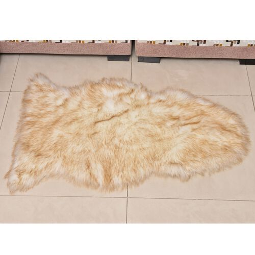 Supersoft Light Brown and White Colour Rug with Foam Inside (Size 100X60 Cm)