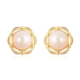 Mabe White Pearl Solitaire Stud Earrings in Gold Plated Silver 5.30 grams