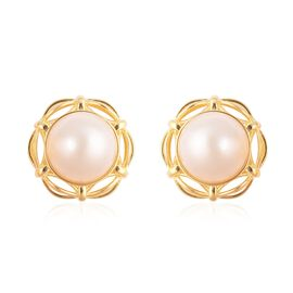 Mabe White Pearl Solitaire Stud Earrings with Push Back in Gold Plated Silver 5.30 grams