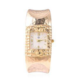 STRADA Japanese Movement Water Resistance Cuff Bangle Watch (Size 6-6.5) in Yellow Gold Plated Stain
