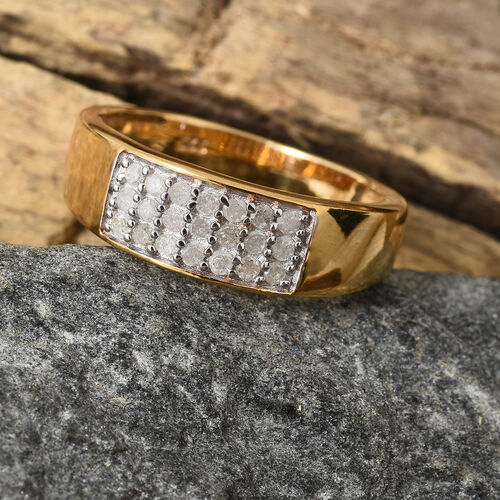 Diamond (Rnd) Band Ring in 14K Yellow Gold Overlay Sterling Silver 0.250 Ct.