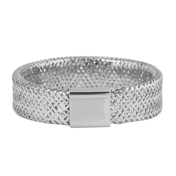 Italian Made - 9k White Gold Stretchable Ring (Size Large) (Size Q to V)
