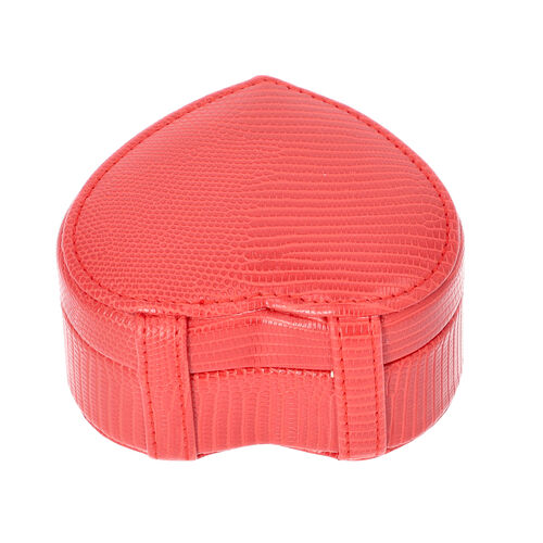 Grace Collection - Lizard Skin Pattern Heart Shaped  Anti-Tarnish Jewellery Box with Inside Mirror, Ring Rows & 2 Sections (Size 10.5x10x6cm) - Red